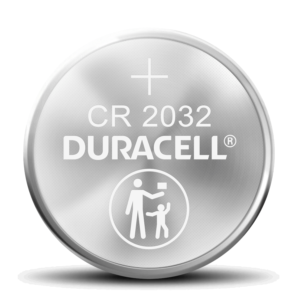 Lihium coin battery with CR 2032 engraved in the surface